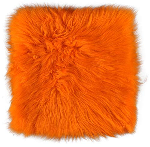 Lammfell Pad Orange Sitzauflage Stuhlkissen aus echtem schwedischen Lammfell Orange 37 x 37 cm