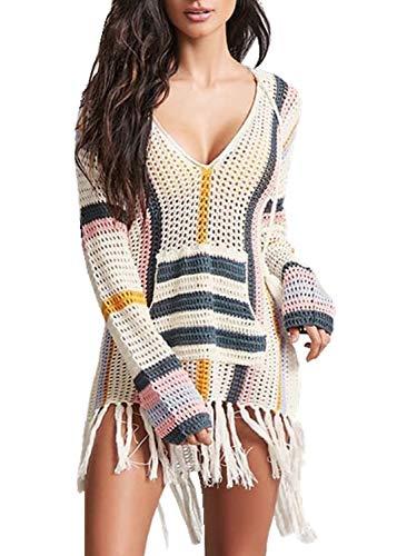 PANAX Damen Gestrickte Urlaub Baumwolle Strandkleid - Häkeln Tunika Biniki Cover up Style1plus Beige&Streichen