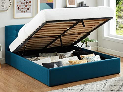 HOMIFAB Lit Coffre 160x200 en Tissu Bleu Canard avec tête de lit et sommier à Lattes - Collection Tina