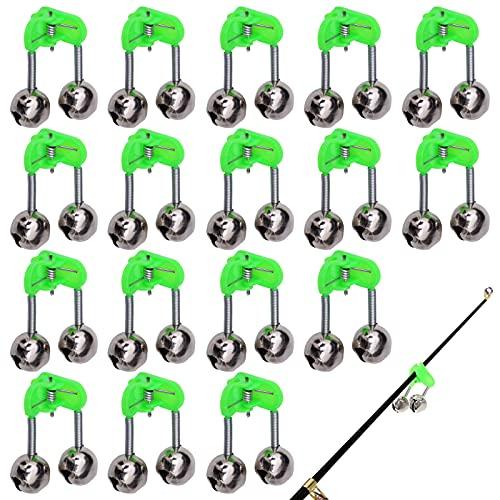 YKSVTNMU Fishing Bell Alarm 20 Stück Klemm Glocke Angeln Alarm Fishing Bite Alarm Kunststoff Angelglocken Bell Ring Clip Angelglocke Angelrute mit Doppel Glöckchen für Meeresangeln Nachtangeln