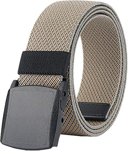 Elastic Stretch Belts for Men and Women with No Metal Plastic Buckle for Work and Travel (Khaki)