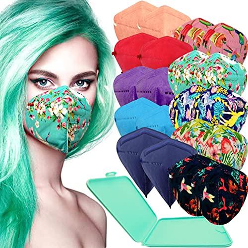 Xique - 20x Mascarilla Protectora FFP2 NR Adulto 5 capas Colores y Estampados Variados + Mask Case color aleatorio