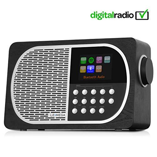 LEMEGA M2+ Tragbares Smart-Radio Mit Wi-Fi, Internetradio, Spotify, Bluetooth, DLNA, DAB, DAB+, UKW-Radio, Uhr, Alarmen, Senderspeicher Und Kabelloser Appsteuerung - Schwarze Eiche