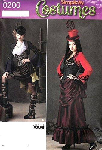 0200 Steampunk Costume Pattern Victorian Miss 6 8 10 12 SIMPLICITY UNCUT 1819 ##cherils