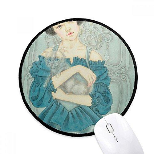 DIYthinker Blauw Jurk Schoonheid Chinese Schilderen Ronde Antislip Mousepads Zwart Titched Edges Game Kantoor Gift