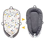 Q Babies 2021 Upgraded Newborn Essentials Must Haves, Bassinet for Baby Lounger, Ultra Soft Premium Breathable Fiberfill Baby Nest, Newborn Lounger, Cosleeping Baby Bed (Rainbow Pattern/Gray Velvet)