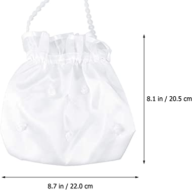 STOBOK 1 Pza Dolly Bag Satinado Flor Profesional Nupcial Dama de Honor Decorado Blanco Dolly Bag Bolso para Fiesta