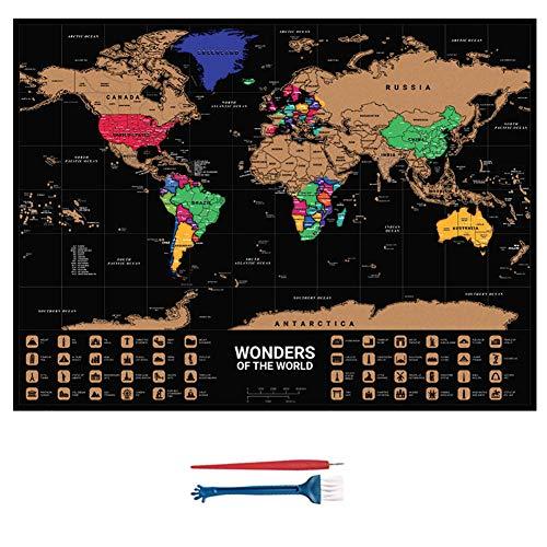 HZW Scratch Off Karte der Welt Zeichnung Spielzeug Weltkarte Poster mit 2 Werkzeugen und Geschenkröhre Personalisierte Reise Scratch für Karte Tolles Geschenk für Kinder Erwachsene und Reisende