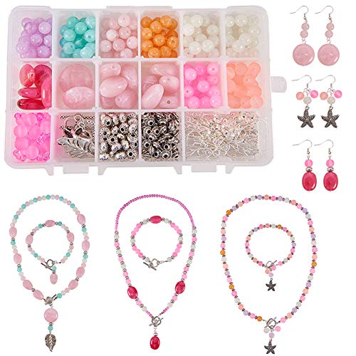 SUNNYCLUE 1 Box DIY Jewelry Making Kit Beading Starter Kits Necklace Bracelet Earrings Arts Craft Jewelry Making Supplies Tools for Adults Beginners
