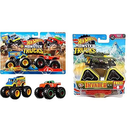 Hot WheelsMattel Fyj64 - Modellino Di Monster Truck Duos, Modelli Assortiti, 1 Pezzo & -Fyj44 Monster Truck In Scala 1:64, Veicolo Singolo A Sorpresa, Fyj44