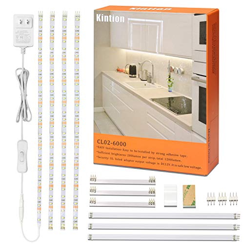 Kintion LED Under Cabinet Lighting Kit,Flexible LED Tape Lights for Kitchen Cabinet,Shelf,Showcase,Desk,Workbench,6000K White LED Under Counter Lights,6.6ft,1200lm,120 LEDs,ETL Power Adpter,4 PCS