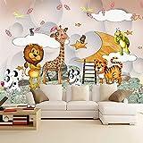 Fotomurales Papel Tapiz De Murales 3D Habitación De Niños Animal De Dibujos Animados Niños Y Niñas Dormitorio Decoración De La Habitación De Los Niños Seda 350X256Cm