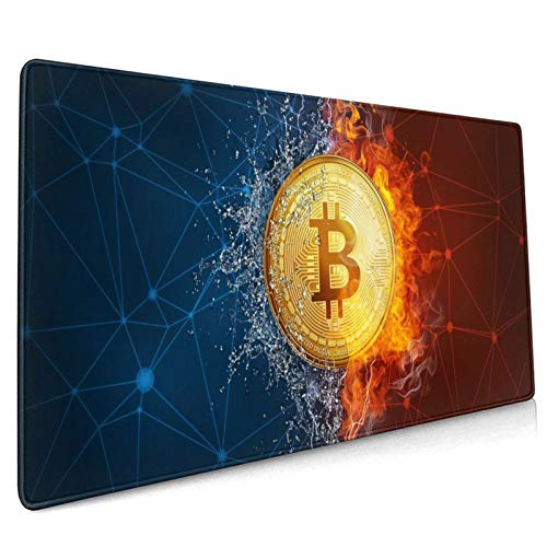 Golden Bitcoin Coin in Fire Flame Water Splashes and Lightning Gaming Mouse Pad, 35.4 X 15.7 in Large Non-Slip Rubber Mouse Mat, Stitched Edges Desk Pad Decor