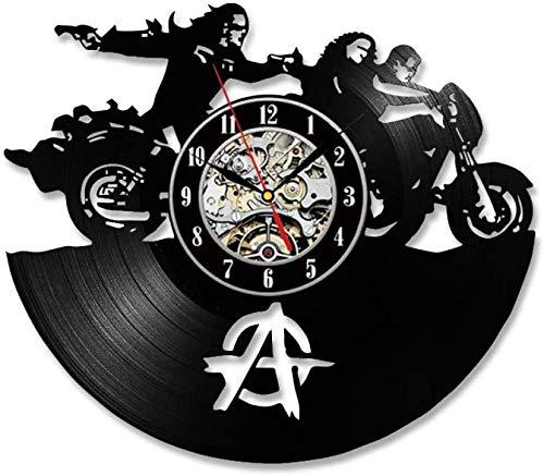TIANZly Reloj de Pared de Vinilo para anarquía Reloj de Pared para niños para Sala de Regalo decoración Moderna para el hogar Cuarzo silencioso Reloj de Pared LED Vintage