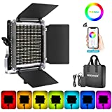 Neewer 480 RGB Led Light with APP Control, 480 SMD LEDs CRI92/3200K-5600K/Brightness 0-100%/0-360 Adjustable Colors/9 Applicable Scenes with LCD Screen/U Bracket/Barndoor, Metal Shell for Photography
