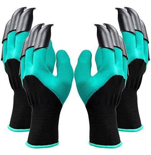 Garden Genie Handschuhe mit Krallen, wasserdichte Gartenhandschuhe zum Graben und Pflanzen, beste Gartengeschenke für Damen und Herren (2 Paar, Grün)
