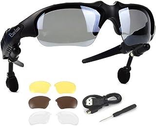976b891df8 Bluetooth Gafas de sol con audífonos estéreo inalámbricos Auriculares con 4  pares de lentes Manos libres