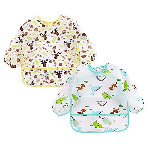 NO Baberos impermeables con mangas, Babero de manga larga Anti-vestirse baberos unisex bebé delantal de manga larga para bebés de 2 a 4 años, (2 piezas)