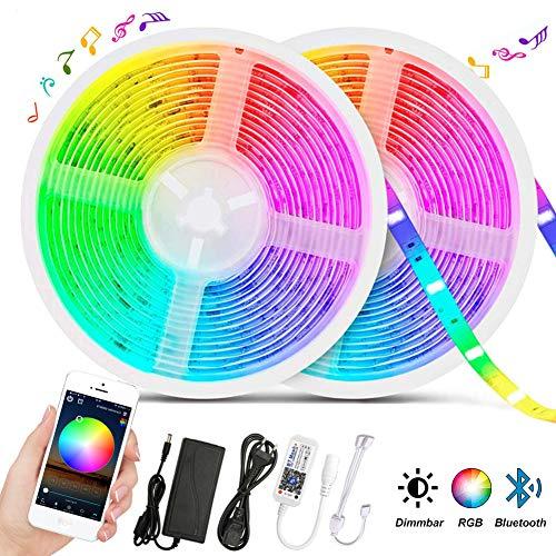 Bluetooth LED Strip 10M (2x5m), GEYUEYA Home LED Streifen 300LED 5050 RGB Dimmbar LED Lichtband, 16 Millionen Farben Sync mit Musik Led Bänder Selbstklebend LED Strip für Deko Party Weihnachten