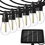 Solar Outdoor String Lights with 15pcs Shatterproof Bulbs,50Ft Vintage Edison Bulbs Commercial Grade Weatherproof Strand Heavy-Duty Decorative LED for Patio,Backyard,Porch,Garden
