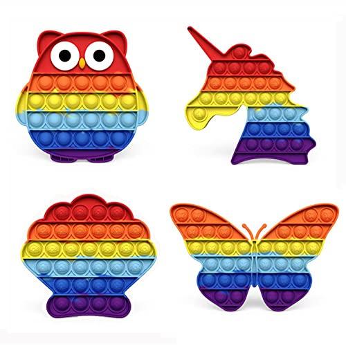 4 pezzi in silicone colorato giocattolo fidget a bolle sensoriali, giocattolo per alleviare la pressione sensoriale, antistress e facile da afferrare,per ufficio, casa, festa, bambini e adulti(1)