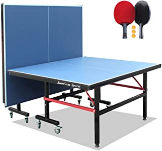 Stansom Foldable Table Tennis Tables with Cover & Quick Clamp Net and 2 Rackets 3 Balls, 40mm Legs Ping Pong Table, 10 Min...