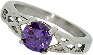 Birthstone Ring~February~Stainless Steel~Celtic~Cubic Zirconia CZ~Amethyst~Purple Crystal~Mother's Ring~Fashion Ring~Women's Jewelry