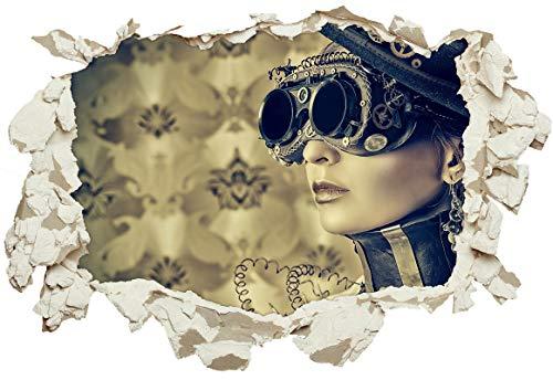 Unified Distribution Sexy Steampunk Girl mit Brille - Wandtattoo mit 3D Effekt, Aufkleber für Wände und Türen Größe: 92x61 cm, Stil: Durchbruch