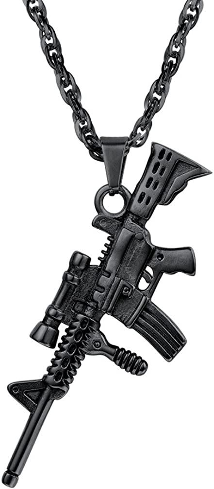 PROSTEEL Punk Rock Necklace,M16A4 Rifle Shape Pendant & Chain,Cool Men Jewelry,Gift for Him