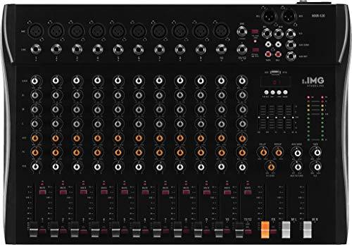 IMG STAGELINE MXR-120, 12-Kanal Audio-Mischpult mit integriertem MP3-Player und Bluetooth-Empfänger, Audio-Console mit 10 Mono-Eingangskanälen mit Gainregler, Mix-Pult in Schwarz