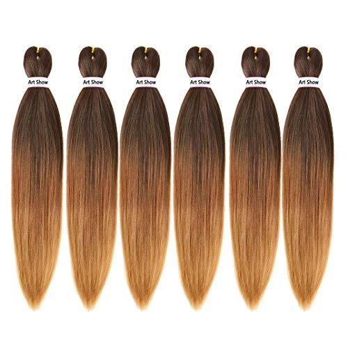 Pre Stretched Braiding Hair 22' Yaki Texture Braid Hair Extensions 6Pcs/Lot Mixed Color Hot Water Setting Crochet Twist Hair(T1B/30/27)