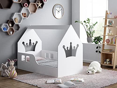 BDW Cama infantil de 80 x 160 cm con colchón, casa de cama, cama de casa, habitación de los niños, cama de pino blanco