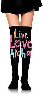 Nice-Guy, Live Love Aloha Girls Winter Warm Muslo Calcetines altos Sobre la rodilla Medias altas