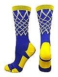 MadSportsStuff Crew Length Elite Basketball Socks with Net (Royal/Gold, Small)