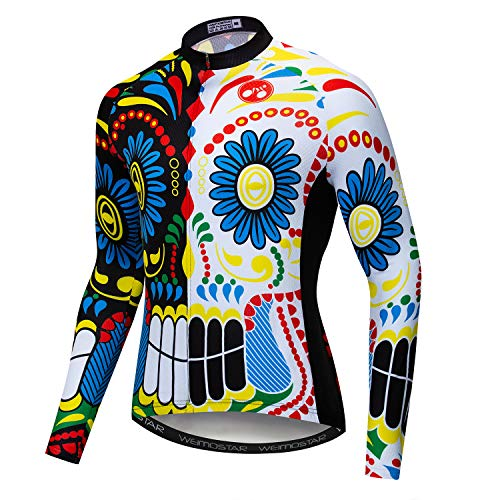 Cycling Jerseys for Men Tops Biking Shirts Long Sleeve Full Zipper Pocket Skull L