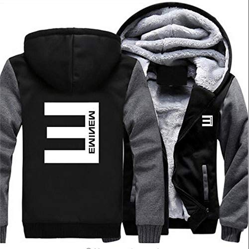 WQLESO Eminem Hoodie Mens Plus Velvet Padded Cardigan Jacke Winter-Warmer Boys Sports Tops,C-L