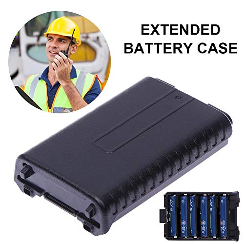 Taimot 6xAA Battery Case Shell Black for Two Way Radio for Baofeng UV-5R UV-5RE Plus,6xAA Battery Case Shell for Portable Baofeng UV-5R Series Radio Two Way Transceiver Walkie Talkie Black