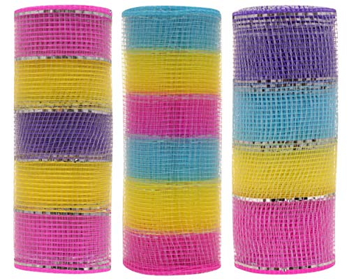 Easter Decorative Mesh (3 Pack) Mutli Colored (Yellow, Pink, Purple, Blue,Silver)