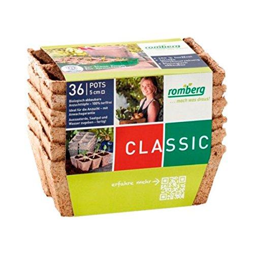 36x Macetas cuadradas de fibra de coco biodegradable Romberg Classic Pots (5cm)