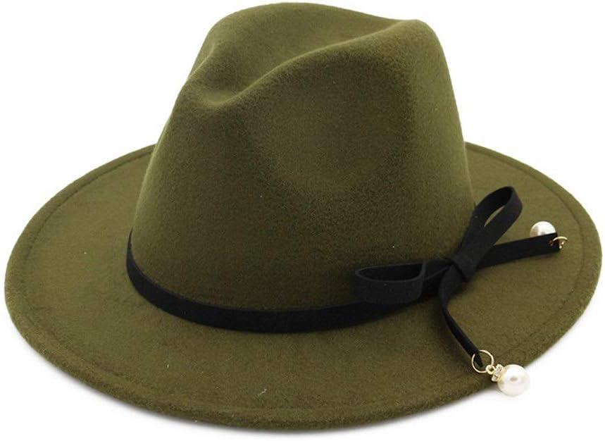 ZLQQLZ Women Cap Unisex Men Women Wool Fedora Hat with Bowknot Elegant Lady Party Fascinator Hat Size 56-58CM Hat (Color : Green, Size : 56-58)