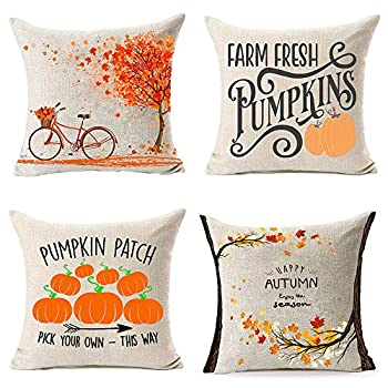 MFGNEH Pumpkin Patch Fall Pillow Covers 18x18 Inch Set of 4 Fall Decor Maple Leaves Bicycle Farmhouse Autumn Cushion Case for Sofa,Fall Decorations