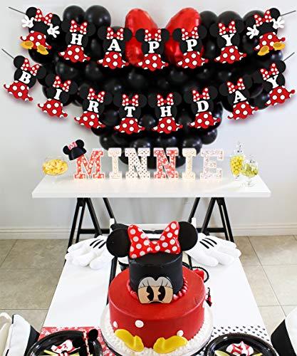 JOYMEMO Fiesta de cumpleaños de Minnie Mouse Rojo y Negro para Fiesta de cumpleaños Decoraciones de Bienvenida al bebé… 4