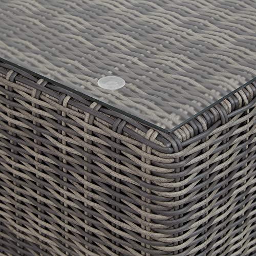 TecTake 800694 Bain de Soleil modulable en Canapé de Jardin 4 Places en Résine tressée et Aluminium – 5 dispositions possibles (Gris | No. 403169)