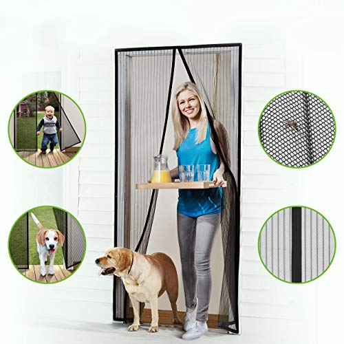 Homitt Magnetic Screen Door with Heavy Duty Mesh Curtain and Full Frame Seal, Fits Door Size up to 37'-82', Hands Free, Let Fresh Air in, Black