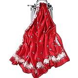 LumiSyne Bufandas De Seda Suave Para Mujer Estampado Floral Rose Estilo Dulce y Elegante Estolas Fulares Largas Chal de playa Durante Toda La Temporada(rojo)