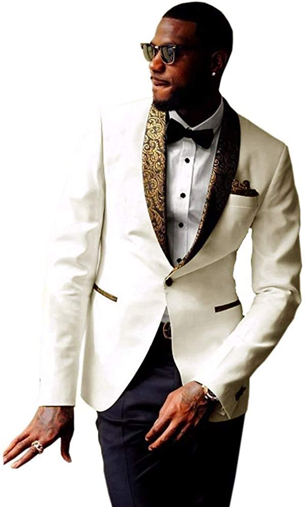 RONGKIM Men's New 2-Piece Groom Suit Surprise Tampa Mall price One White Button Tuxedo Wed