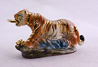 Feng Shui Tiger with Coin - Hand Crafted and Decorated Chinese Porcelain,figurine 2104012.