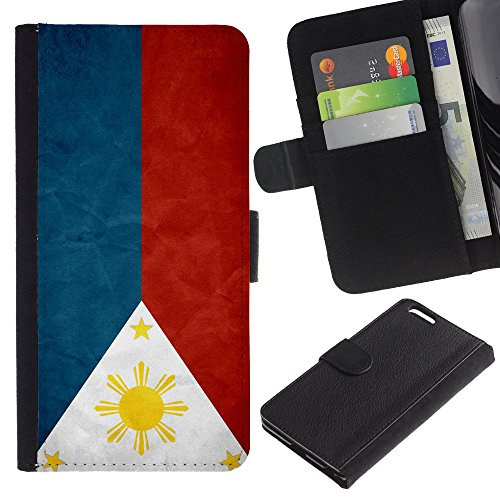 Graphic4You Vintage Filipino Flag of Philippines Design Thin Wallet Card Holder Leather Case Cover for Apple iPhone 6 Plus / 6S Plus
