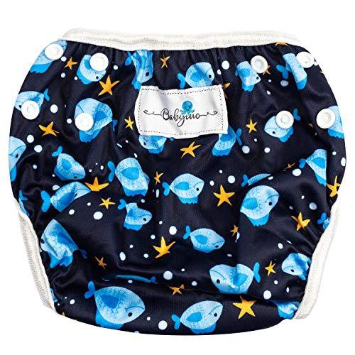 Babyino wiederverwendbare Schwimm-Windel | Bade-Hose für Babys und Kleinkinder (Blau Fisch) 6 bis 24 Monate Verstellbare Größe mitwachsende Schwimm-Kleidung