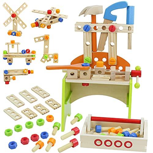 Nuheby Cassetta Attrezzi Giochi in Legno Kit Attrezzi per Bambini 3 4 5 6 Anni,Martello Cacciavite Gioco di Ruolo Giocattoli Attrezzi da Lavoro Bambini Ragazzo Ragazza(67 PCS)